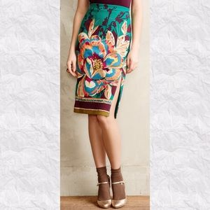 Anthro Maeve Tapestry Floral Pencil Skirt